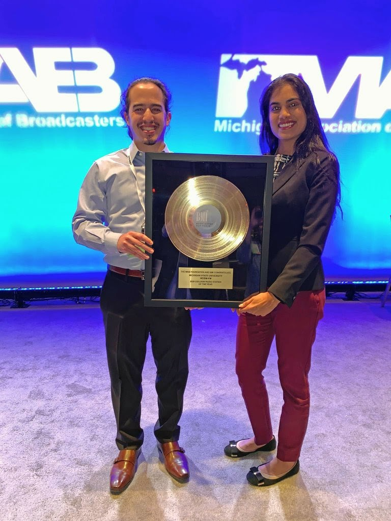 Daniel Puentes (left) and Chelsie Boodoo (right) at the Michigan Association for Broadcasting Awards 2020